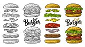 Double and classic burger with flying ingredients include bun, tomato, salad, cheese, onion, cucumber. Best burger lettering. Vector color vintage engraving Illustration isolated on white background