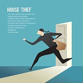 Simple cartoon of a burglar break into a house in flat stele. Vector illustration