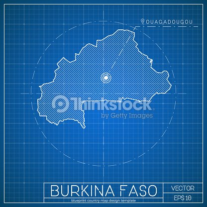burkina faso blueprint map template with capital city vector art