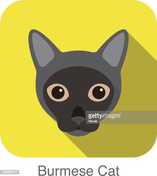 Burmese Cat, Cat breed face cartoon flat icon design