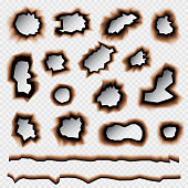 Burnt Holes Set Isolated on Transparent Background. Vector Illustration.
