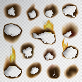 Collection of burnt faded holes piece burned paper fire realistic flame isolated vector illustration. Brown grunge textured page sheet torn ash parchment destroyed