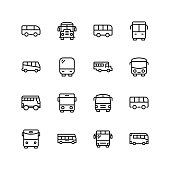 Bus icon set. Collection of high quality black outline logo for web site design and mobile apps. Vector illustration on a white background.