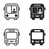 Bus vector icons set. Illustration isolated for graphic and web design.