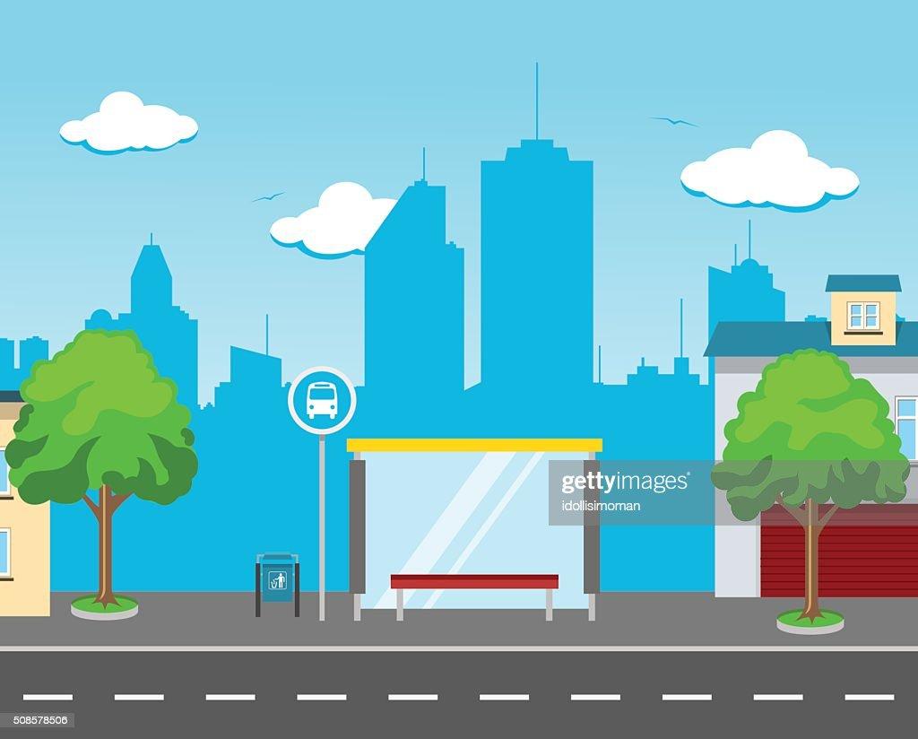 Bus Station in the Street : Vectorkunst