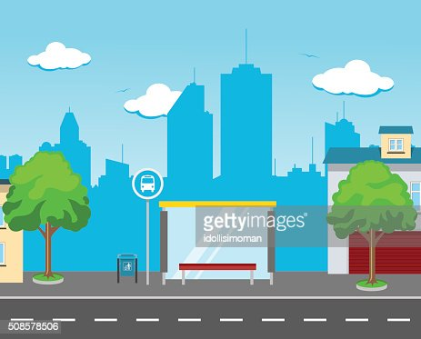 Bus Station in the Street : Vector Art