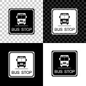 Bus stop icon isolated on black, white and transparent background. Vector Illustration