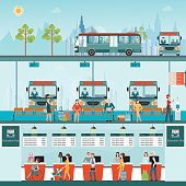 Bus terminal with bus limousine with people buying ticket at counter service and waiting for bus, business travel , transportation vector illustration.