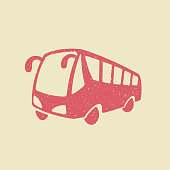 Bus vector icon. Public transport symbol. Flat illustration in grunge style