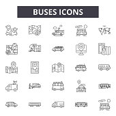 Buses line icons, signs, vector set, outline concept linear illustration
