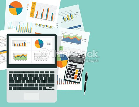 business analytic graph in device with report paper concept business