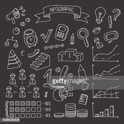 Business and finance hand drawn infographic design elements. : Vector Art