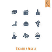 Business and Finance, Flat Icon Set. Simple and Minimalistic Style. Vector