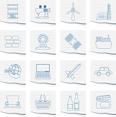 Business and industry icons on a piece of paper - Vector Icon Set