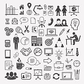 Business and office icons: people, computer, digital, office equipment, team, strategy, design infographics elements