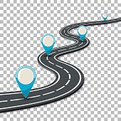Business Concept with Progress Pointer on marking road. flat style icons. isolated vector illustration on transparent background