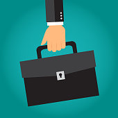 Businessman's hand holding briefcase or portfolio. Vector illustration.
