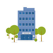 Business building in green recreation park zone. Downtown office with board, and big central entrance and green trees near building. Urban architecture concept. Flat style vector illustration.