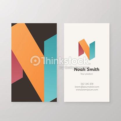 business card isometric logo letter n vector template vector art