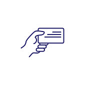 Business card line icon. Human hand holding badge. Identity concept. Can be used for topics like business id, verification, license, document