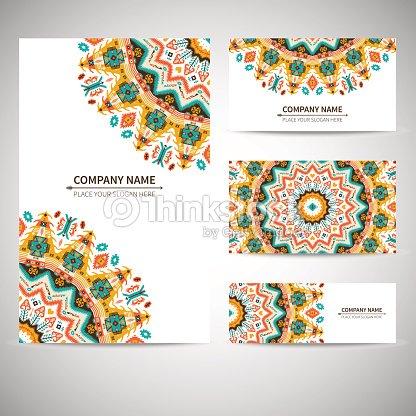 Modle De Carte Visite Illustration Vectorielle En Style Amrindien Clipart Vectoriel