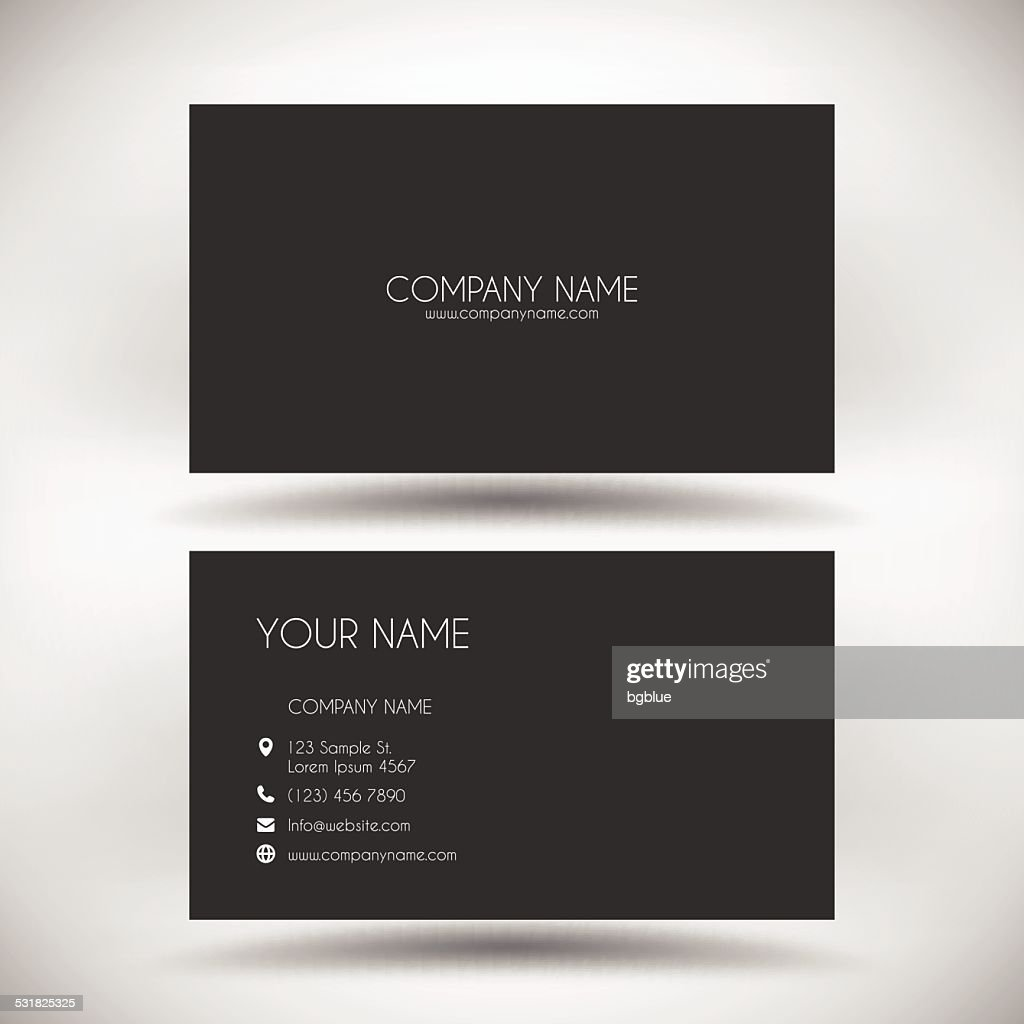 Business card template with black background vector art for Business card template black