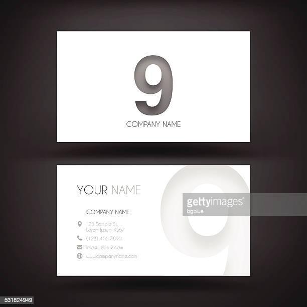 """Visitenkarte-Vorlage mit Nummer 9 """"9"""""""
