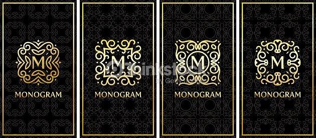 Modeles De Carte Visite Avec Monogramme Dore Sur Fond Noir Clipart Vectoriel