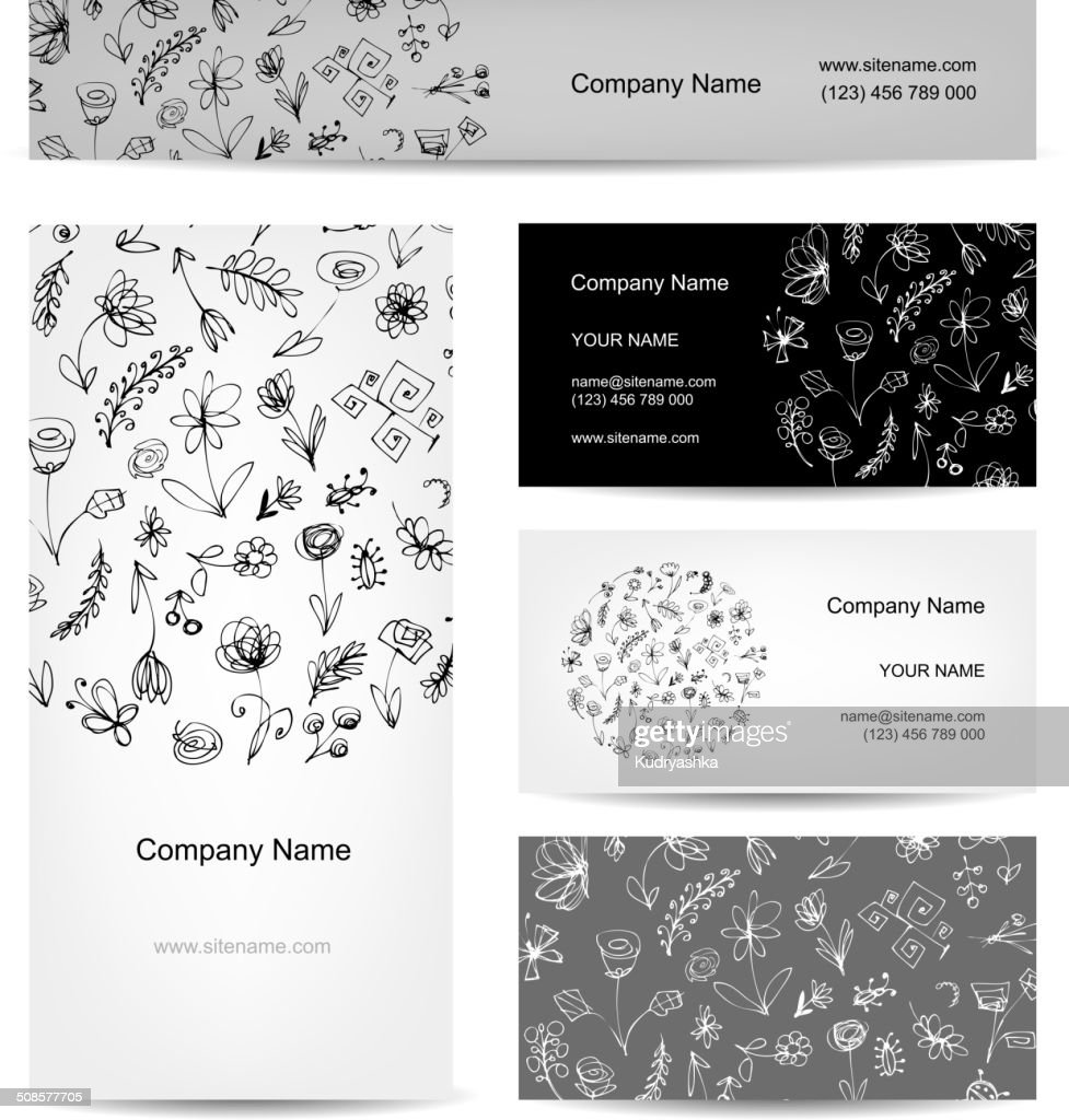 Business cards collection, floral design : Vector Art