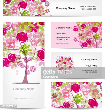 Business cards design, pink floral style : Vector Art