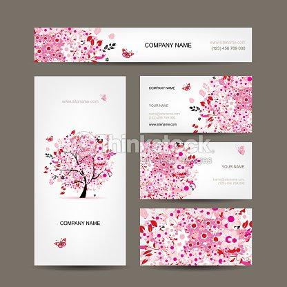 Cartes De Visite Design Avec Arbre Fleuri Rose Clipart Vectoriel