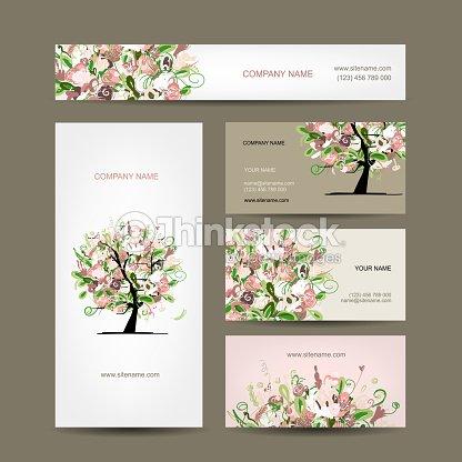 Visitenkartendesign Mit Blumen Baum Skizze Vektorgrafik