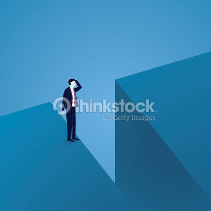 Business Challenge Concept. Businessman Confuse at The Edge of a Gap : stock vector