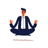 Businessman meditation in office.  Young man relaxing in lotus position. Cartoon Vector illustration.