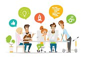 Business characters people team scene Teamwork in modern office Flat web vector illustration for infographics