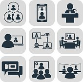 Business communication. Video conference vector icons set