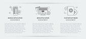 Flat line illustration business concept menu banner set of web application development, application development and custom software development company site services for websites on background