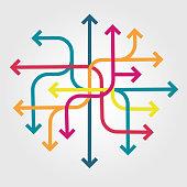 Tangle of multicolored arrows vector illustration