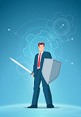 Business concept illustration. Businessman holding a sword and shield. Gear drawings on background. Elements are layered separately in vector file.