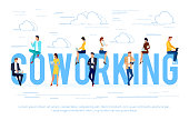 Coworking. Business concept with young people using laptops and smartphones. Can be used in the design of the site header, banners, posters. Vector illustration.