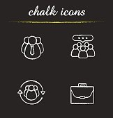 Business concepts chalk icons set. Vector. Company employees, leadership, team communication and briefcase