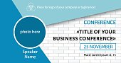 Business conference template. Facebook event link banner design