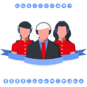 Business consultant of call center with headset. Operators of customer support service. Vector illustration.