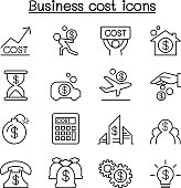 Business cost icon set in thin line style