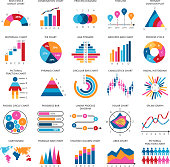 Business data graphs. Vector financial and marketing charts. Illustration of data financial graph and diagram