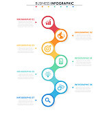 Business data. Process chart. Abstract elements of graph, diagram with 7 steps, options, parts or processes. Vector business template for presentation. Concept for infographic.Vector