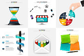 Vector hourglass, puzzle, pen, envelope and stickers for infographic. Business concept with 3, 4 and 5 options, parts, steps or processes