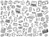 hand drawn vector illustration set of business elements