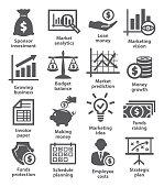 Business economic icons on white background
