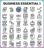 Business Essential concept detailed line icons set in modern line icon style concept for ui, ux, web, app design